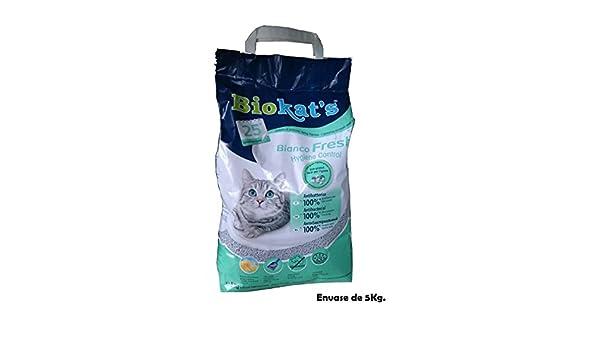 Biokats Arena perfumada lecho gatos 5Kg bianco Fresh Hygiene Control absorbente: Amazon.es: Hogar