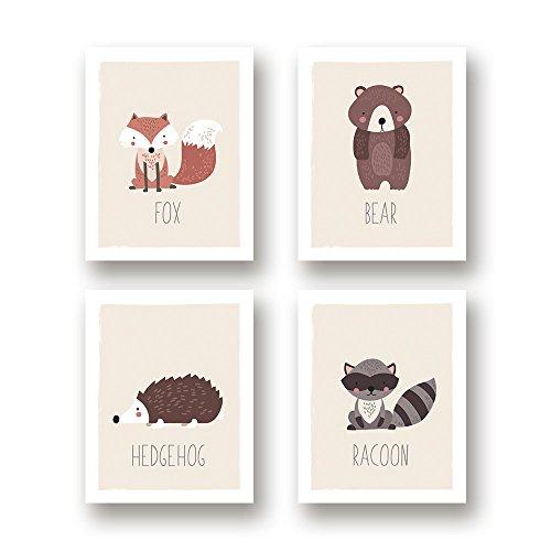 Woodland Nursery Decor, Set of 4 11x14 Unframed Prints, Boho Decor, Wall Decor Kids, Hedgehog Fox Bear Raccoon Baby Registry, Gender Neutral Wall Art, Dream Room Decor, Nursery Woodland Decor, Forest (Baby Beginnings Nursery Posters)