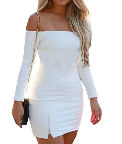 Up Cut Women Zip Dresses Coolred Out Slim Solid Color White Club Fit Evening Shoulder A d8wWwqFX