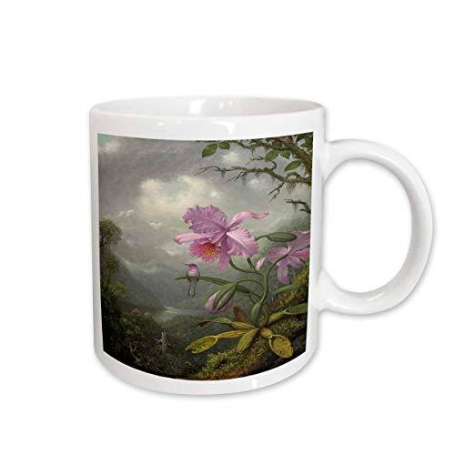 3dRose Florene Vintage Art - Image of Heades 1800s Painting Hummingbird On Orchid - 15oz Mug (mug_237443_2)