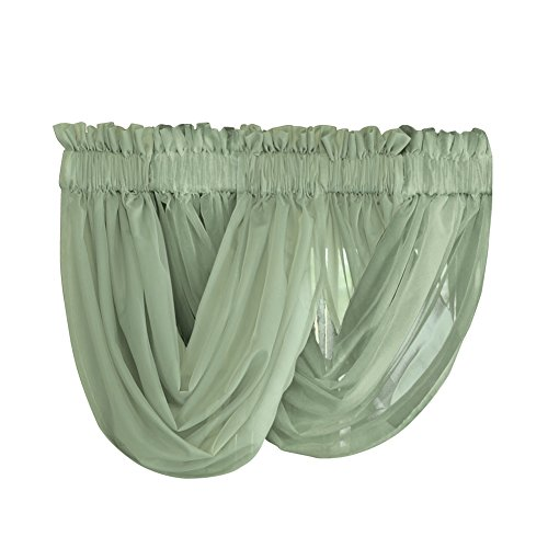 Solid Sheer Rod Pocket Scoop 2 Piece Valance Window Curtain Set, Sage (Cheap Window Curtain Sets)