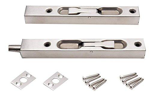 BTMB 6 Inch 304 Stainless Steel Flush Bolt Security Door Guard Lever Action Door Slide Bolt Lock for Composite Doors,French Doors,Wood Doors,Pack of 2