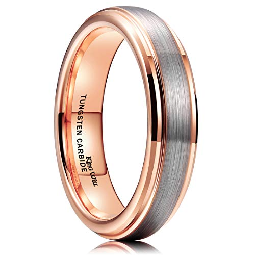 King Will Duo Unisex 5mm 18k Rose Gold Plated Tungsten Carbide Ring Two Tone Wedding Band 13.5 (Gold Plated Two Tone Ring)