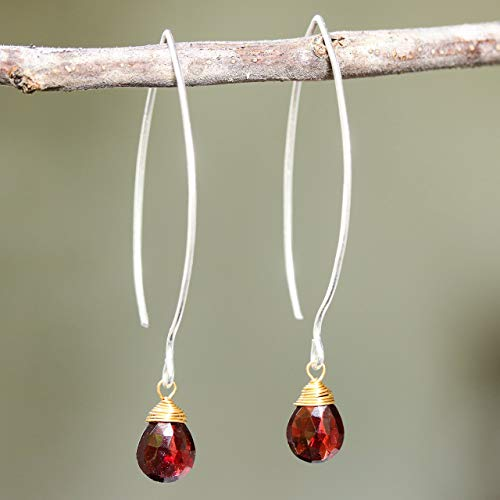 Earrings,Teardrop faceted garnet with brass wire wrapped on sterling silver marquise ear wires