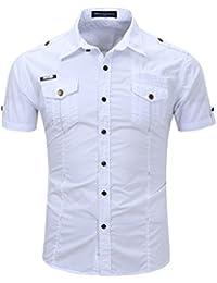 Men's Military Style Short Sleeve Button Down Shirt 100% Cotton