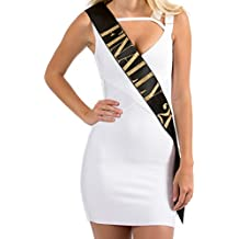 """BLACK Satin Birthday Sash """"FINALLY 21"""" w/ GOLD Glitter encased in letters - FINALLY 21 - 21st Birthday Party by Dulcet Downtown"""