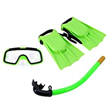 ZJchao 3Pcs Kids Snorkel Set - Swim Goggle, Breathing Tube, Diving Fin for Toddler 8 - Youth 7 America code Foot Size, Perfect for Children Diving, Snorkeling and Swimming