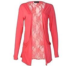 New Womens Ladies Lace Back Open Pocket Long Sleeve Boyfriend Cardigan