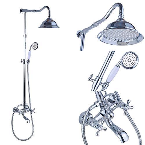 Rozin Chrome Bathroom Tub Shower Faucet Set 8-inch Top Rainfall Shower Head + Handheld Spray