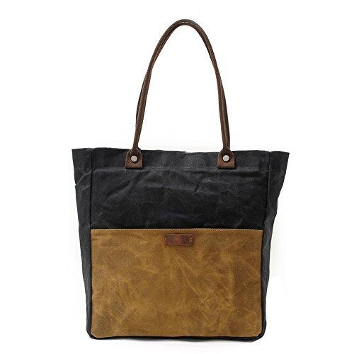 Peacechaos Women's Canvas Waterproof Shoulder Hand Bag Tote Bag (Black)