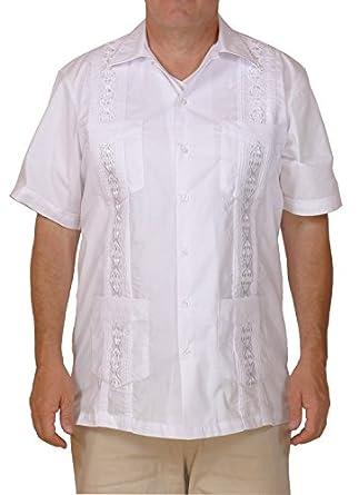 Squish Cuban Style Guayabera Shirt White At Amazon Men S