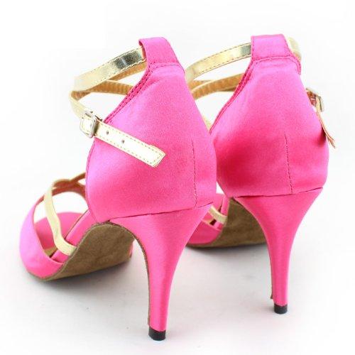 Abby Q-8060 Womens Litin Shoes Ballroom Dance 3.4 Flared Heel Shoes Pink CNAwzJdi