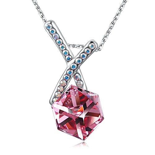SUE'S SECRET Swarovski Cross Necklace Love Cubics Pendant Necklace with Swarovski Crystals, 18