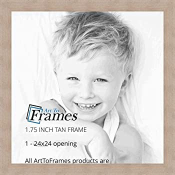 ArtToFrames 24x24 inch Tan - Distressed Wood Wood Picture Frame, WOM82223-102-24x24
