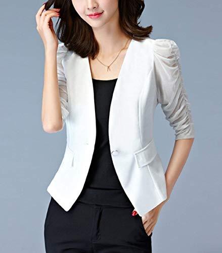 Primaverile Da Manica Giacca Slim Ufficio Corto Plus Tailleur Casuali Blazer Autunno Lunga Cappotto Prodotto Fit Bianca Donna Outerwear Business wn7vqO0xXX