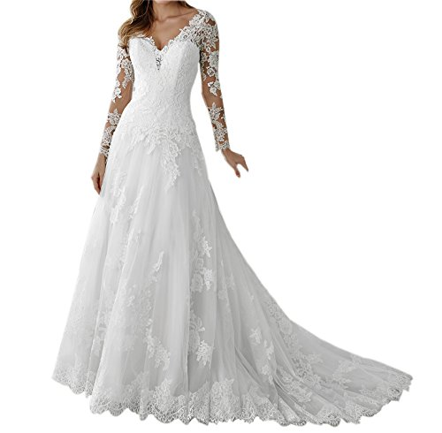 Vintage Wedding Dresses Under 1000: Long Sleeve Vintage V Neck Back Buttons Elegant Lace Tulle