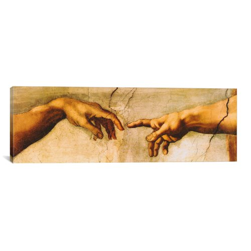 iCanvasART The Creation of Adam by Michelangelo Canvas Art Print, 48 by 16-Inch by iCanvasART