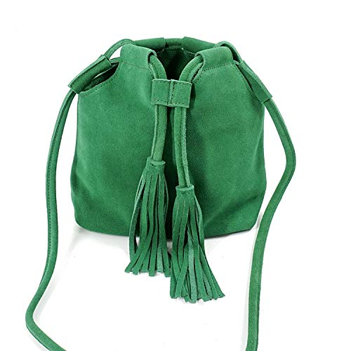 (Genuine Leather Small Bucket Shoulder Bag For Women Fashion Leisure Summer Ibiza Suede Fringe,Green)