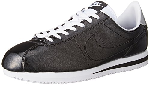 - NIKE Mens Cortez Basic Premium QS Black/White-Silver Leather Size 10