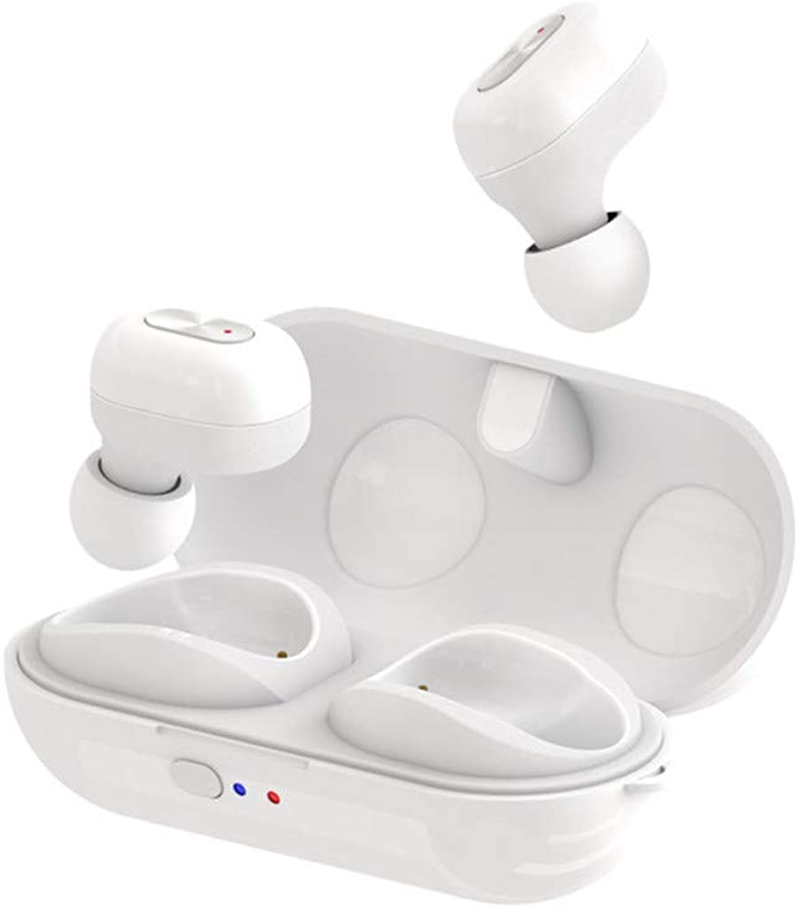 True Wireless Earphones Bluetooth 5.0 Sweatproof Stereo Sport Mini in-Ear Headphones Extra Bass Built-in Mic Noise Cancelling Earbuds Low Latency Instant Pairing Headset w/Charging Box
