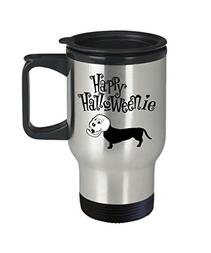 Happy Halloweenie - Best Gift Ideas For Weiner Dog Owner - Funny And Inspirational Gifts - Inspirational Gifts And Sarcasm - Sausage Dog - Travel Mug - 14oz -