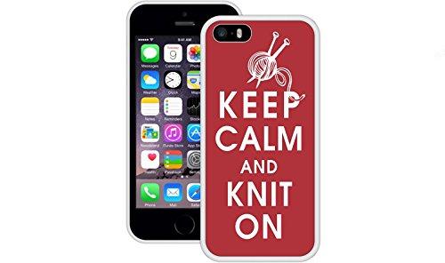 Bleib 'ruhig stricken an | Handgefertigt | iPhone 5 5s SE | Weiß TPU Hülle