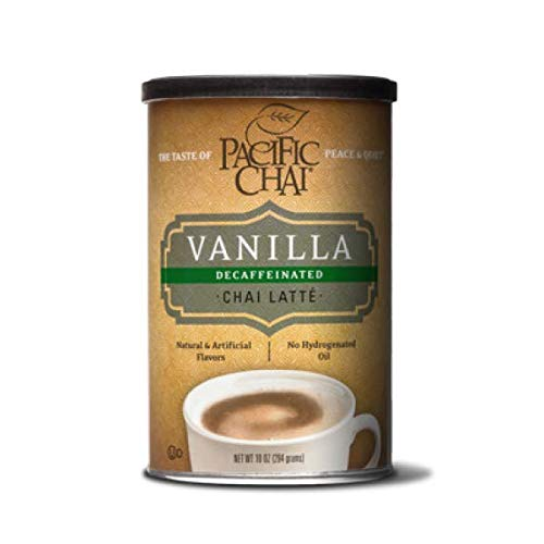 Pacific Chai Decaffeinated Vanilla Chai Latte Mix, 10-Ounce Canisters (Pack of 6)