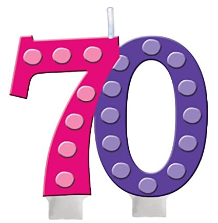 Creative Converting Bright And Bold 70th Birthday Molded Numeral Cake Candle