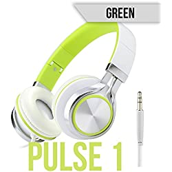 147th Pulse 1 - Noise Cancelling Lightweight Comfortable Headphones on Ear Head Phones for Clear Audio Beats and Sound (Green)
