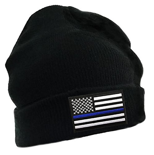 Thin Blue Line American Flag Embroidered Winter Hat at Amazon Men s ... a44787126ea