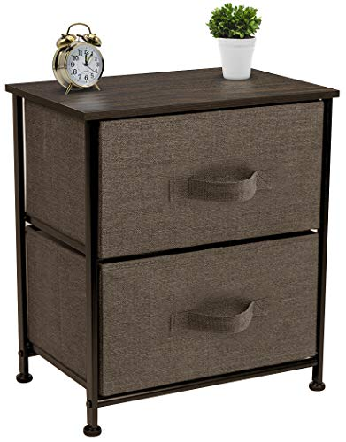 (Sorbus Nightstand with 2 Drawers - Bedside Furniture & Accent End Table Chest for Home, Bedroom Accessories, Office, College Dorm, Steel Frame, Wood Top, Easy Pull Fabric Bins (Brown))