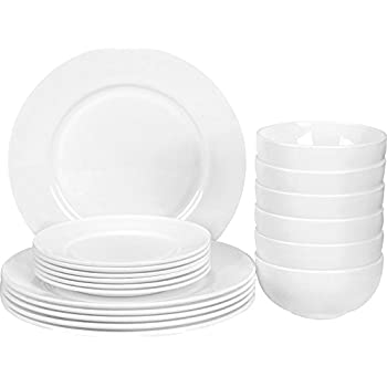 18 Piece Flat Edge Dinner Set - Heat Resistant Opal Glassware - Microwave/ Oven Friendly  sc 1 st  Amazon.com & Amazon.com | 18 Piece Flat Edge Dinner Set - Heat Resistant Opal ...