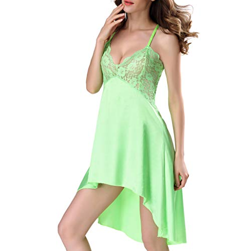 (Women Lingerie Backless Laces Camisole Romper Sexy Siamese Bodysuit Pajamas Green )