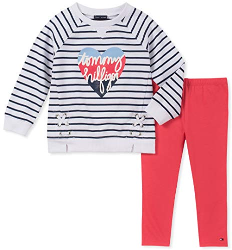 Tommy Hilfiger Baby Girls 2 Pieces Legging Set, White|Navy Stripes|Paradise Pink, 24M