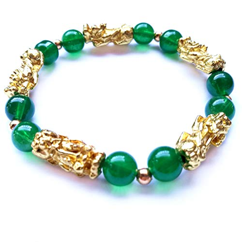 MANRUO Feng Shui Amulet Bracelet The Best Porsperity Green Bead Bracelet with 5 Vietnamese Sand Gold Plated Pi Xiu/Pi Yao Lucky Wealthy Brecelet