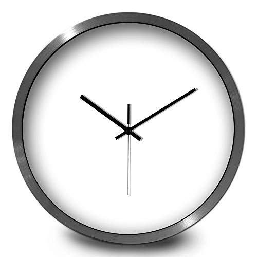 BAIF Modminimalist no Fields of Pure White Clock Minimalist Wall Clock Stylish Living Room Silent Watches Personalized Wall Clock Wall Table Round The Clock, 12 inch,CW194 Pure White Black-Silve