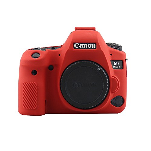HellowPower EOS 6D Mark II Camera Housing Camera Body Case Cover Soft Silicone Protective Accessory Rubber Detachable Protection Camera Bag for Canon EOS 6D Mark II Digital SLR Camera (Red)