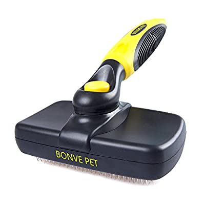 Pet Grooming Brush - Self Cleaning Slicker Brushes Best Shedding Tools for Grooming Cat Dog Long & Thick Hair by Bonve Pet