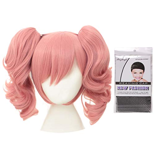 Women Girls Lolita Kawaii Japanese Anime Cosplay Party 2 Ponytails Lovely Curly Pink Wigs with Wig Cap -
