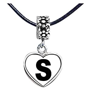 Chicforest Silver Plated Black Letter S Photo Flower Head Dangle Heart Charm Beads Fits Pandora Bracelets