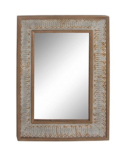 (Deco 79 98148 Rectangular Wood and Metal Wall Mirror, 39