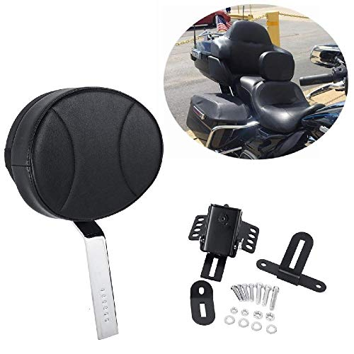 OXMART Motorcycle Backrest Sissy Bar with PU Pad Detachable Storage Pocket Adjustable Driver Backrest Fit for Harley with One-Piece Slotted Seat (Black-C)