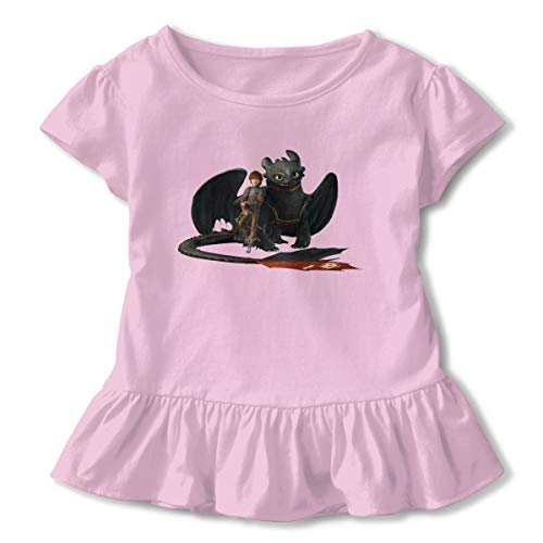 Censu Design Girls' Hiccup and Toothless How to Train Your Dragon Ruffle T-Shirt Short Sleeve Tees 100% Organic Cotton Pink
