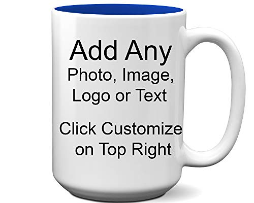 (DIY Custom Personalized Photo Picture and/or Text Coffee 11 and 15 Ounce Mugs | Add Your Own Photo or Image or Text | No Minimums - Double Sided for Same Price (White/Navy Blue Trim, 15 Ounce))