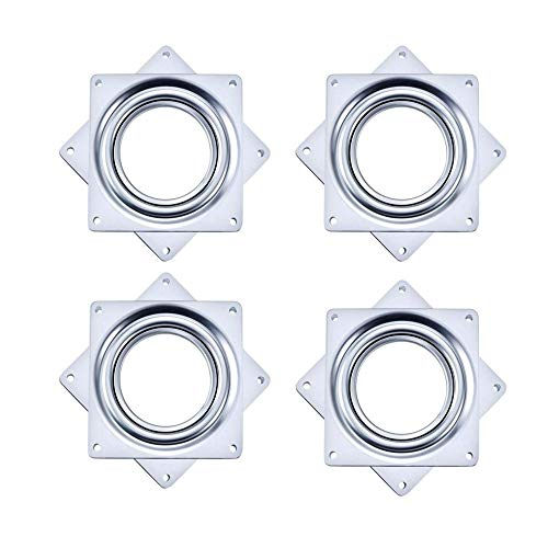 Liyafy 3 Inch Square Duty Rotating Hollow Turntable Bearing Swivel Plate Hardware for Kitchen Dining Table 4Pcs