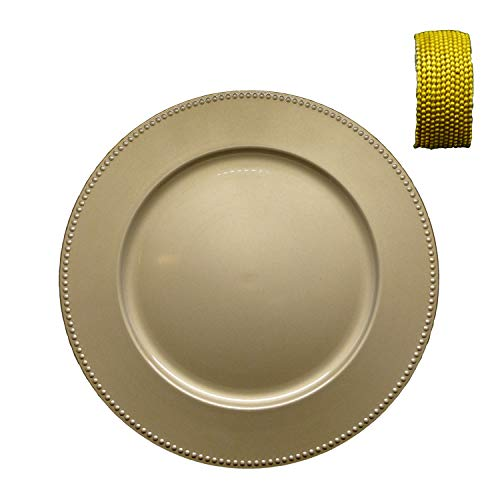 Napkin Aluminum Rings (Antique Gold Plastic Charger Plates with Beaded Rims, 13 in. And Handmade Indian Gold Aluminum Ball Chain Wooden Napkin Rings - Set of 12 Bundle)
