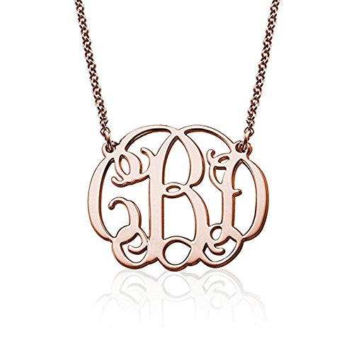 Personalized 3 Initial Name Necklace Monogram Name Jewelry (Rose gold) ()