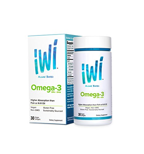 100 Mg Dha (iWi® Omega-3 EPA+DHA powered by Algae, Highest-Absorption, 600 Mg of Pure Almega® PL,150 mg of EPA, 100 mg of DHA,100% Vegetarian, Non-GMO, Gluten-Free, Sustainable US Farming, 30 Softgel)