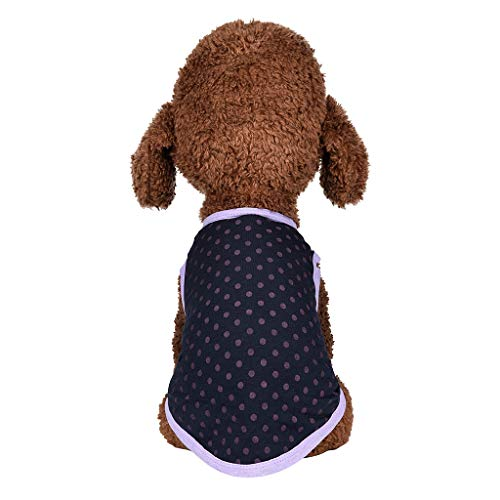 (Puppy Face Dog Shirts Tank Top with Wave Pointt Doggie Costumes Vine_MINMI T-Shirt Pet Clothes Vest Apparel Thin Coat Hot Pink)