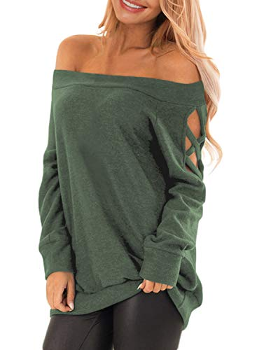 Off The Shoulder Cotton T Shirts Criss Cross Cut Out Shoulder Ladies Pullover Sweatshirt Tops M Green ()
